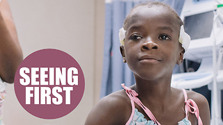 Little girl seeing the world for the first time in three years after cataract surgery