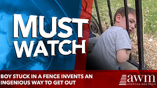 Boy Stuck In A Fence Develops An Ingenious Way To Escape. Only A Kid Curious Could Dream This Up! - Video