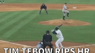 Tim Tebow Rips Hr In First Minor League At-bat - Video