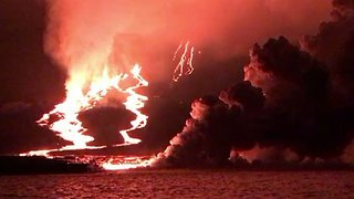 Lava Flows Into Pacific From Eruption on Galapagos Island of Fernandina - Video