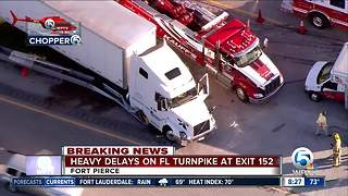 Semi crashes on the Turnpike in St. Lucie County