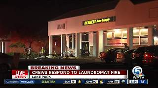 Faulty electrical wiring causes laundromat fire in Lake Park - Video