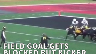 Field Goal Gets Blocked But Kicker Still Finds A Way To Get 3 Points - Video