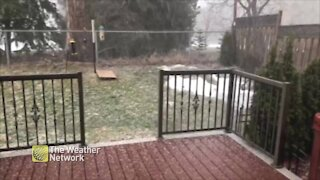 Hail covers deck during spring storm in Ontario