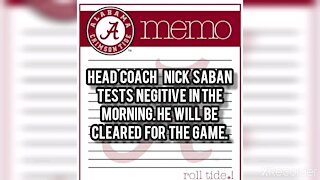 Alabama COACH NICK SABAN TEST NEGATIVE