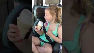 Adamant Little Girl Will Finish Ice Cream, Awake or Asleep! - Video