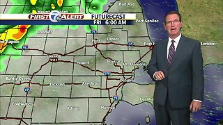 Strong storms again Friday