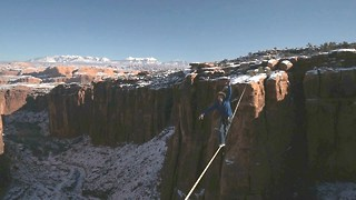 Drone Captures Slackliner's Incredible Valley Crossing