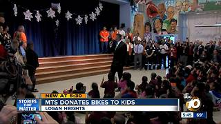 MTS donates bikes to kids - Video