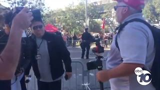 Univision reporter escorted from Chicano Park demonstrations after confrontation - Video