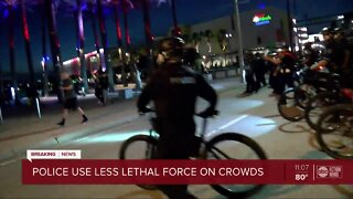 Police use non-lethal force to clear protesters in downtown Tampa