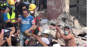Person Rescued After Mexico City Factory Collapse During Earthquake - Video