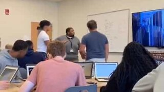 Teacher flips out at student prank