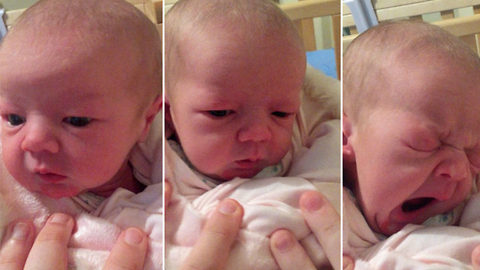 Adorable one-week-old baby perplexed by first bout of hiccups