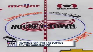 Red Wings paint first ice surface at Little Caesars Arena - Video