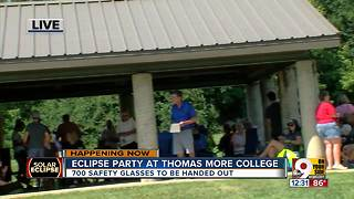 Crowd grows for Thomas More College's solar eclipse watch party - Video