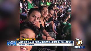 Mother, daughter, son injured in collapse - Video