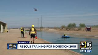 Phoenix firefighters train for monsoon season rescues - Video