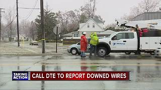 DTE Energy safety warnings during April ice storm