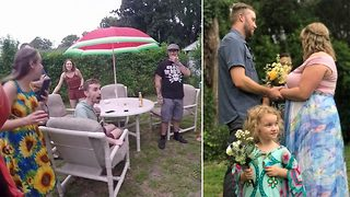 Secretive couple surprise family and friends with spontaneous wedding ceremony - Video