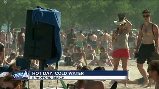 Hot day, cold water at Bradford Beach - Video