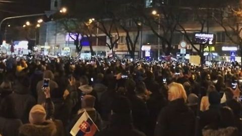 Crowd Sings National Anthem at Anti-Government Protest