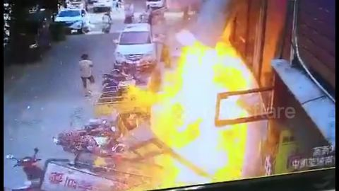 Passerby engulfed by fire when gas cylinder explodes