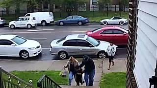 Security Cam Catches Woman Tripping On Stairs - Video