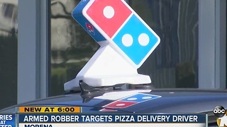 Armed robber targets pizza delivery driver - Video