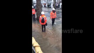 Major flooding in West London's Shepherd's Bush - Video