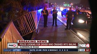 Driver flees after crashing though railing on Summerlin Drive - Video