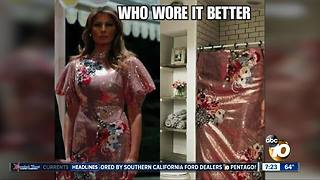 First Lady wore a shower curtain dress?