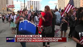Deportation protest outside federal court in downtown Detroit - Video