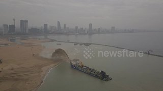 Amazing drone footage shows large-scale Sri Lanka land reclamation - Video