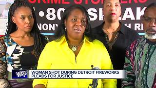 Woman shot during Detroit fireworks pleads for justice - Video