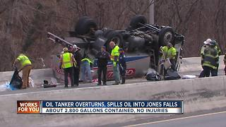 Overturned tanker spills thousands of gallons of oil into Jones Falls - Video