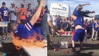 Bills Fan SLAMS His Girlfriend Through a Table, Another Sets Himself on FIRE - Video