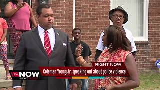 Coleman Young Jr. speaking out about police violence