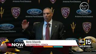 ASU introduces new football   head coach Herm Edwards at presser - Video