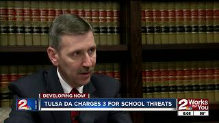 Tulsa County District Attorney's office charges 3 juveniles in connection with threats to schools - Video