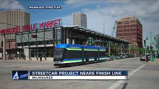 Milwaukee streetcar near finish line - Video