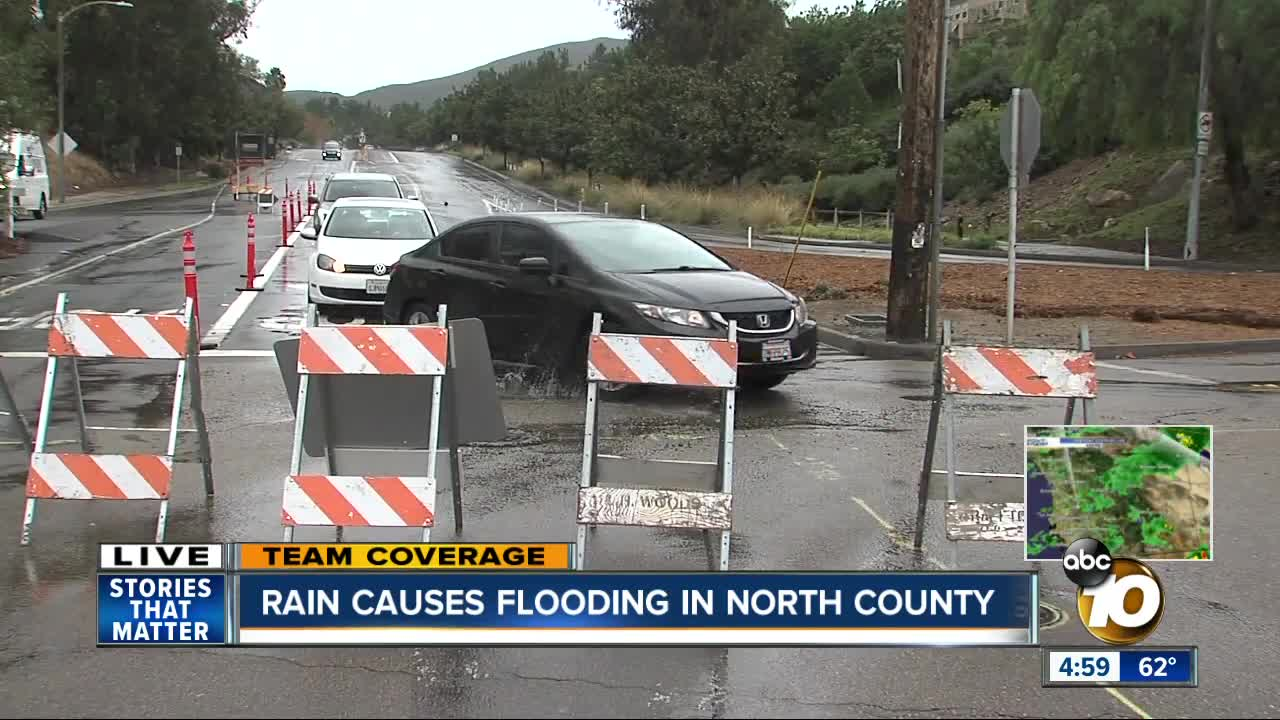 Rain causes flooding in North County