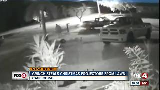 Grinch Steals Christmas Projectors from Lawn - Video