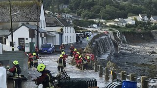 Flash Flood Hits Coverack in Cornwall - Video
