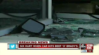 Car jumps curb, crashes into Beef 'O' Brady's in Spring Hill, injuring six