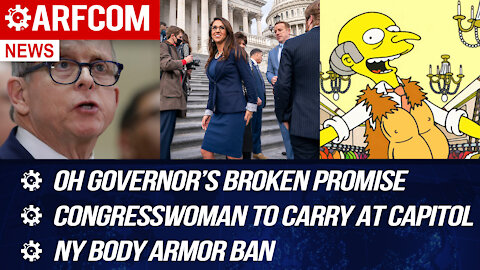 [ARFCOM NEWS] OH Governor's Broken Promise + Congresswoman To Carry At Capitol + NY Body Armor Ban