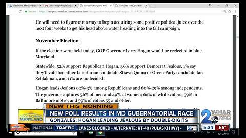 Gonzales Poll shows Hogan leading Jealous by 16%