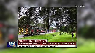 Elderly woman critically hurt in St. Lucie County house fire - Video