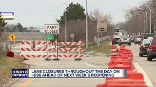 Work begins this morning to prepare for re-opening of westbound I-696 in Macomb Co. - Video