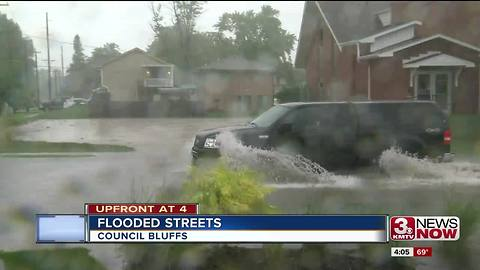 Drivers encounter flooded streets in Council Bluffs
